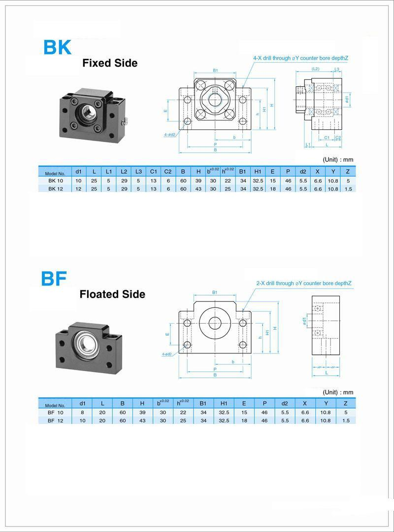 Kit 16 mm ball screw 800mm with nut, blocks and ball nut housing
