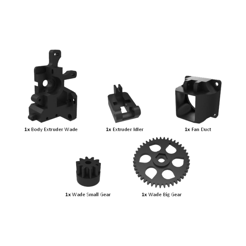Plastic parts of extruder Wade for I3 Rework